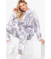 womens keep it chill tie dye hoodie and joggers lounge set - grey