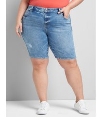 lane bryant women's lane essentials venezia denim bermuda short - medium wash 24 medium wash