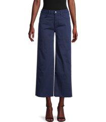 l'agence women's danica twill wide-leg pants - navy - size 25 (2)
