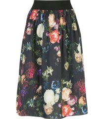 adam lippes multi floral full skirt - black
