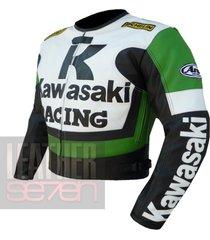 kawasaki 1 green leather motorcycle motorbike biker armour racing jacket c