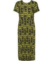 snake plisse dacona jurk knielengte geel mads nørgaard