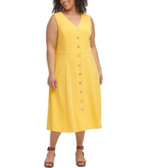 tommy hilfiger plus size button-front midi dress