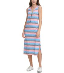 dkny jeans striped sleeveless zip-front midi knit dress