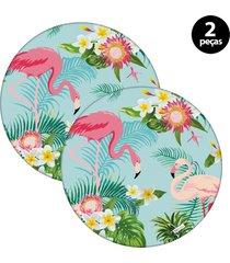 capa para sousplat mdecore flamingo  azul 2pã§s - azul - dafiti
