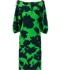 delpozo abstract-print boat neck dress - green
