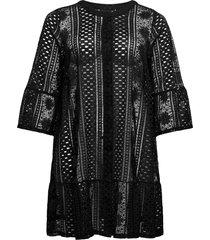 dress buttons plus plain 3/4 length sleeves kort klänning svart zizzi