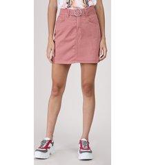 saia de sarja feminina curta com cinto rosa