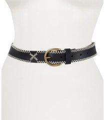 women's frye embroidered leather belt, size medium - black, antique brass