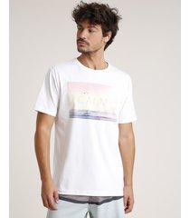 """camiseta masculina """"calm"""" manga curta gola careca off white"""