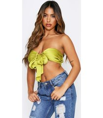satin tie front ruched bandeau top, lime