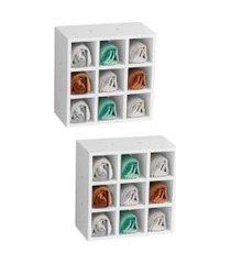 kit 2 nichos de parede porta toalha para saláo 9 divisões branco - ajl móveis