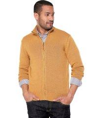 sweater ocre 41 preppy m/l c/alto abierto cremallera tej medio