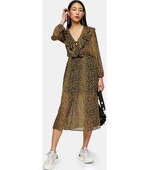 leopard print ruffle midi dress - mustard