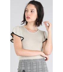 blusa feminina em tricô manga curta decote redondo bege claro