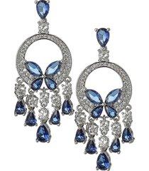 eye candy la women's luxe lights silvertone & blue & white crystal dangle earrings
