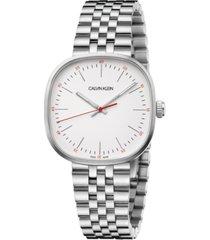 calvin klein men's squarely stainless steel bracelet watch 38mm