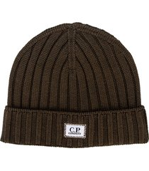 mens knitted wool beanie with badge logo