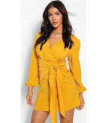 loshangende wikkel jurk met lange mouwen, mosterd