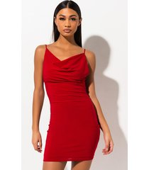 akira asking for more drape neck mini dress