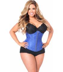 plus size top drawer royal blue underbust steel boned corset