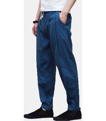 harem pantaloni sciolti in cotone-lino con stile cinese casual in colore a tinta unita