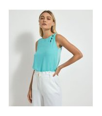 blusa regata lisa em chiffon com detalhe de bolinhas no ombro | cortelle | azul | p