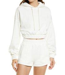 women's nia smocked crop hoodie, size x-small - white