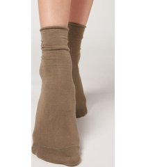 calzedonia non-elastic cotton ankle socks woman brown size 36-38