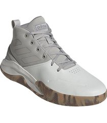 tenis basketball adidas own the game - blanco-beige