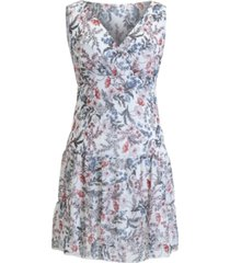 connected floral-print v-neck fit & flare chiffon dress