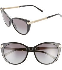 women's versace 55mm cat eye sunglasses - black/ black gradient