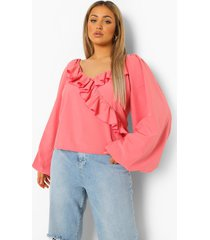 plus blouse met ruches, laag decolleté en volle mouwen, coral