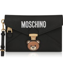 moschino designer handbags, teddy bear black leather clutch w/wristlet