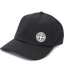 stone island drawstring logo cap - black