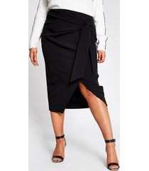 river island womens plus black wrap front midi skirt