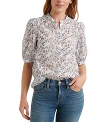lucky brand printed popover poet top