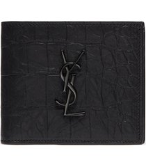 croc embossed leather bifold wallet