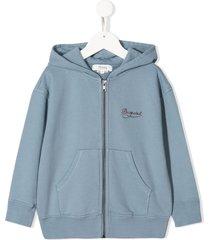bonpoint stitched logo hoodie - blue