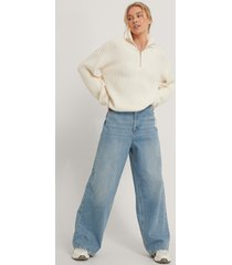 na-kd reborn ekologiska jeans med sliten fåll - blue