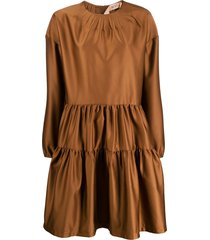 nº21 flared tiered dress - brown