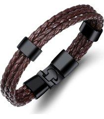 braccialetti per bracciali da polso da uomo vintage in tessuto multistrato a più strati