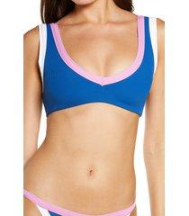 women's l space lala bikini top, size small - blue