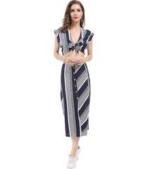 conjunto top y falda rayas azul/blanco nicopoly