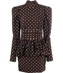 alessandra rich polka dot peplum-waist mini dress - brown