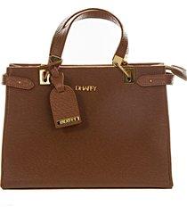 bolsa dhaffy bolsas grande alça de máo e transversal caramelo - tricae