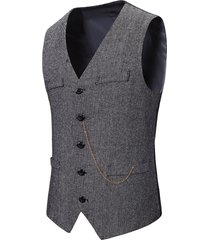 metal chain herringbone button up tweed vest