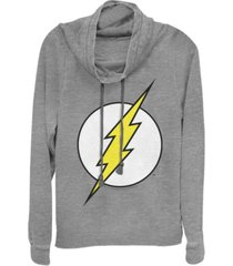 fifth sun dc the flash classic lightning bolt logo cowl neck juniors pullover fleece