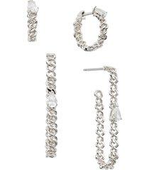women's nadri lux set of 4 chain hoop earrings