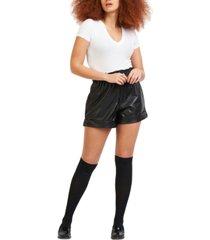 black tape petite faux-leather shorts